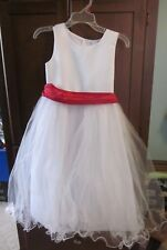 Christmas- Holiday Girls Dress-White dress with red ribbon- size 10