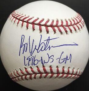 """Bob Watson """"1996 WS GM"""" Signed MLB Baseball, BAS COA"""