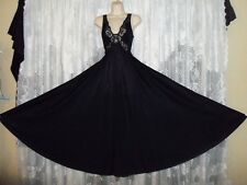 VTG Black OLGA Butterfly Lace Full BODYSILK Nightgown Negligee Gown S M 55""