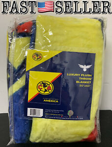 """Futbol Club America Aquilas Luxury Plush Throw Blanket Size 50""""x60"""" - NEW! FAST!"""