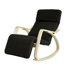 SoBuy® Relax Black Wood Rocking Chair Armchair  Adjustable Footrest FST16-SCH,UK