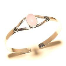 New Silver Plated Rose Quartz Cuff Bracelet Bangel Gemstone Elegent Jewelry