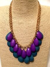 Mujer de las Señoras Declaración Oro Aqua Azul Púrpura Collar Babero con Cadena de Borla