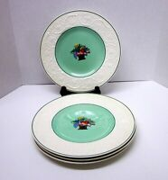 "4 Wedgwood Etruria England 10-1/2"" Dinner Plates-Fruit Basket On Green"
