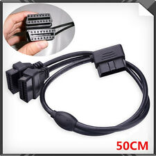OBD2 16 Pin Right Angle Splitter Extension Cable Dual Female Car Diagnostic Tool