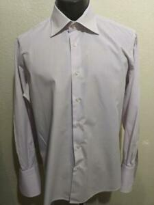 LUCIANO BARBERA Light Purple French Cuff Cotton Dress Shirt   17 x 36