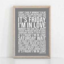 More details for cure friday i am in love song lyrics poster print wall art