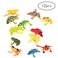 12 Pcs Plastic Frog Model Set Colorful Simulation Frog Mini Educational Frog Toy