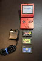 Nintendo Game Boy Advance GBA SP AGS-001 Flame Red - 3 Games - With Charger