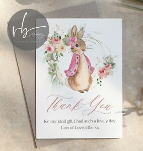 10 Personalised Flopsy Bunny Peter Rabbit Thank You Cards Christening, Party