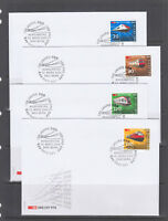 Switzerland Sc 1116-1119 singles on 4 2002 official FDCs, Swiss Railways, cplt