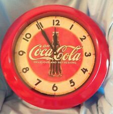 "Coca-Cola Metal Wall Clock  Coke Depot Bottle Red   Timeworks  17.5""  2002  $127"