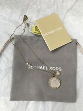 NWT MICHAEL KORS Mother-of-Pearl Logo Pendant Pave Necklace MKJ5639710 GOLD TONE