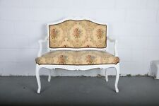 1960's French Louis XVI Whitewashed Oak Loveseat Canape W/ Floral Upholstery