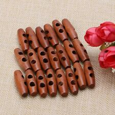 2 Holes Wood Sewing Horn Toggle Buttons Coat Clothes Accessories Craft 50Pcs