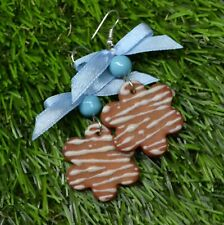 Novelty Festive EASTER Earrings Gingerbread Biscuit bow star fimo polymer clay
