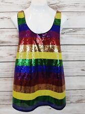 Rainbow Mens Sleeveless T-Shirt Size XXL Sequin Stripes Gender Pride Tank
