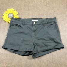 H&M Womens Denim Short Shorts Size 8 Stretch Mid Rise Cuffed Green kr3481