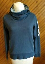 Bench Women's Size M Cowl Funnel Neck Top Sweatshirt Blue Long Logo Sleeve