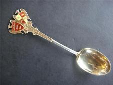 Antique English Sterling Silver 925 ''Gilt  Enamel Teaspoon C.1940s