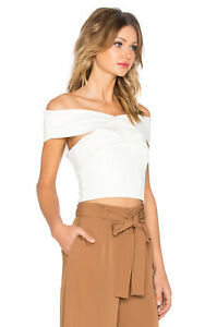 Finders Keepers Be Still Ivory Stretch Off Shoulder Reversible Top Bustier XS
