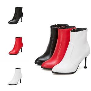 Large Size 32-50 Womens Kitten Heel Ankle Boots Pointed Toe Dress Pumps Booties