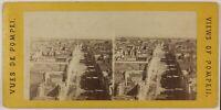 Pompei Italia Foto Stereo L5n23 Vintage Albumina c1870
