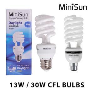 MiniSun CFL Daylight Spiral Light Bulb Energy Saving Lightbulb 6500K Cool White