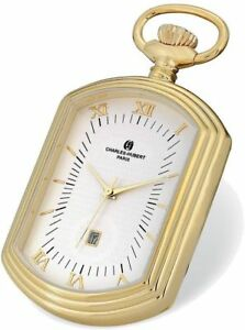 Charles Hubert Gold-Tone Finiah Open Face Rectangular Pocket Watch