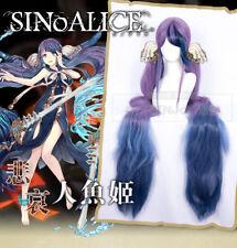 "59"" 150cm Super Long SINoALICE The Little Mermaid Blue Purple Ombre Cosplay Wig"