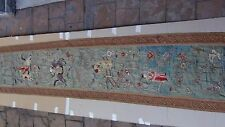 "ANTIQUE 18c CHINESE LONG GOLD STICH EMBROIDERY PANEL W/PEOPLE ,HORSES ,BATS 76""L"