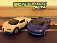 Scalextric Digital Bugatti Veyron Twin Pack Fully Serviced & New Braids