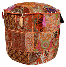 Indian Pouffe Cover Moroccan Footstool Vintage Patchwork Round Seat Ottoman