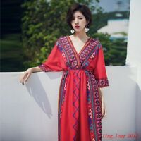 BOHO Womens Printed Flower Embroidery V Neck Loose Resort Beach Casual Dress