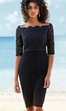 BNWT🌹Next🌹Size 8 Petite Navy Lace Pleat Bardot Off Shoulder Dress Evening New