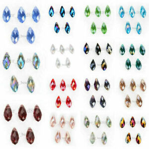 20Pcs Charms Crystal Teardrop Spacer Pendant Loose Beads 6x12mm Color Collect#F