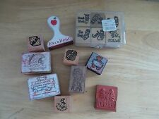 Lot Of 15 Rubber Stamps Used for Teachers Classroom
