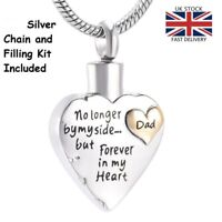Dad Father Keepsake Heart Cremation Urn Pendant Ashes Necklace Funeral Memorial