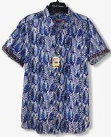 """Robert Graham Men's Size XL Blue Palms Hawaiian """"Ewing"""" Flip Cuff Shirt NWT $198"""