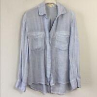 "Cloth & Stone Women's Light Blue Roll Tab Double Pocket ""Ashby"" Button Shirt XS"