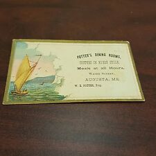 Vintage Advertising Restaurant Business Card Potters Dining Rooms Oysters ME