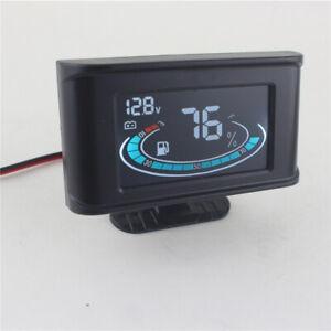 Universal LCD Digital Truck Car Voltmeter Voltage Gauge + Fuel Tank Meter 12/24V