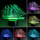 7 Color 3D Illusion Sailboat Night Light Touch Switch LED Desk Table Lamp Xmas