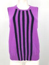 J CREW CASHMERE Women's Jackie Sweater Shell Tank Purple Stripe Large L (M4)