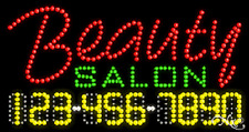 """NEW """"BEAUTY SALON"""" 32x17 w/YOUR PHONE NUMBER SOLID/ANIMATED LED SIGN 25001"""