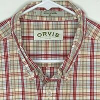 Orvis Mens Outdoor Shirt LS Red White Plaid XL
