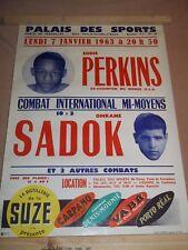 ancienne affiche de boxe EDDIE PERKINS vs SADOK 1963 palais des sports suze