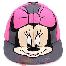 Disney Minnie Mouse Big Face Snapback Hat Flat Bill Cap -  Teen Adults Size
