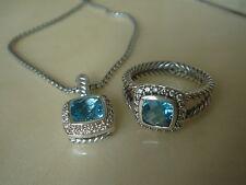DAVID YURMAN , SILVER ALBION BLUE TOPAZ DIAMOND ICE NECKLACE