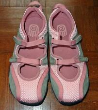 EUC Teva Pink Mesh Suede Double Velcro Walking Sports Sandals Shoes Youth 5 6.5